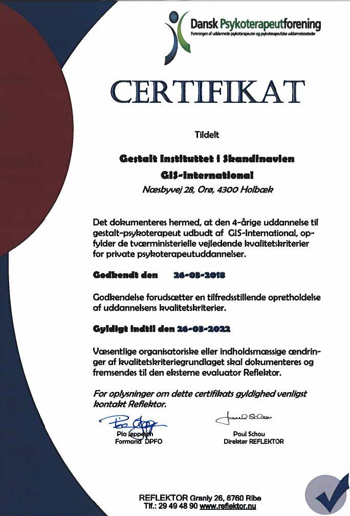 GIS PF certificate